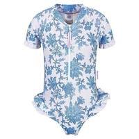 Sun Emporium Baby Girls Blue Paisley Flounce UPF50+ One Piece Swimsuit