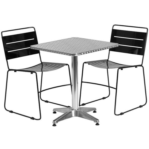 Skovde Square Aluminum IndoorOutdoor Table Set W Black - Aluminum table and chairs for restaurant
