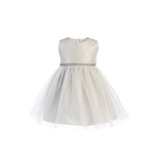 Sweet Kids Baby Girls Silver Ornate Brocade Crystal Tulle Christmas Dress