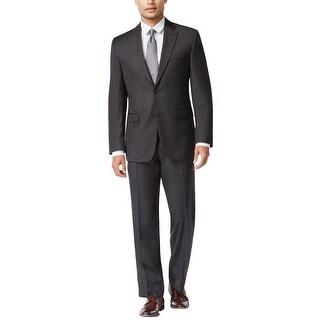 Izod Regular Fit Charcoal Birdseye Suit 40 Long 40L Flat Front Pants 33W