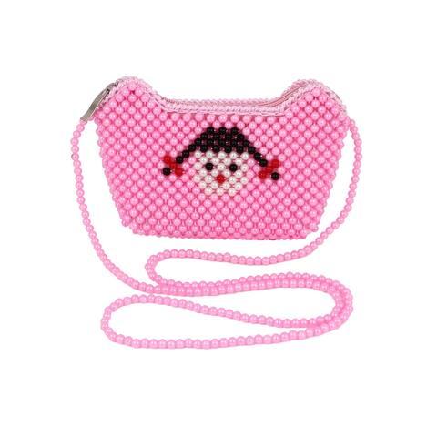 Manual Bright Beaded Ingot Shaped Face Decor Wristlet Handbag - Pink