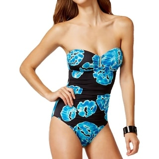 Calvin Klein Womens Printed Bandeau One-Piece Swimsuit