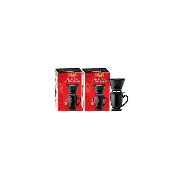 Melitta 64010 Pour Over OneCup Ceramic Black SinglePack (2-Pack) Ceramic Coffeemaker - Black