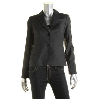 Calvin Klein Womens Pinstripe Long Sleeves Two-Button Blazer