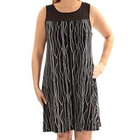 VINCE CAMUTO Womens Black Printed Sleeveless Jewel Neck Above The Knee Shift Dress  Size: L