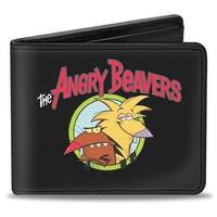 Angry Beavers Logo Front + Logo Back Bi Fold Wallet - One Size Fits most