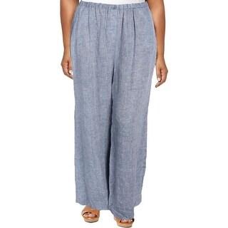 Nic+Zoe Womens Plus Casual Pants Linen Drawstring Blue 1X
