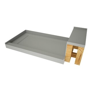 "Link to Tile Redi RT4248L-SQ-RB42-KIT Base'N Bench 42"" x 60"" Rectangular - Polished Chrome Similar Items in Showers"