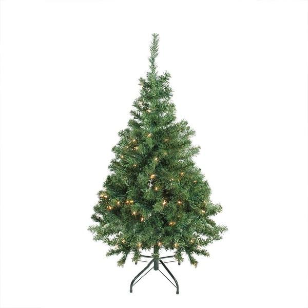 "4' x 30"" Pre-Lit Niagara Pine Medium Artificial Christmas Tree - Clear Lights"