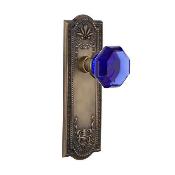 Nostalgic Warehouse MEAWAC_SD_NK Meadows Solid Brass Rose Single Dummy Door Knob with Cobalt Waldorf Knob