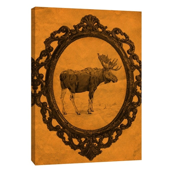 "PTM Images 9-108949 PTM Canvas Collection 10"" x 8"" - ""Framed Moose in Tangerine"" Giclee Moose Art Print on Canvas"