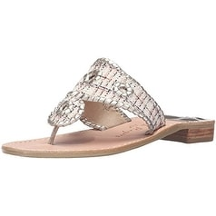 Jack Rogers Women's Shiloh Dress Sandal, Natural Fabric/Platinum, 8.5 M US