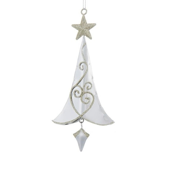 "6.5"" Silver Metal Tree with Gold Swirls and Gold Star Hanging Christmas Ornament"