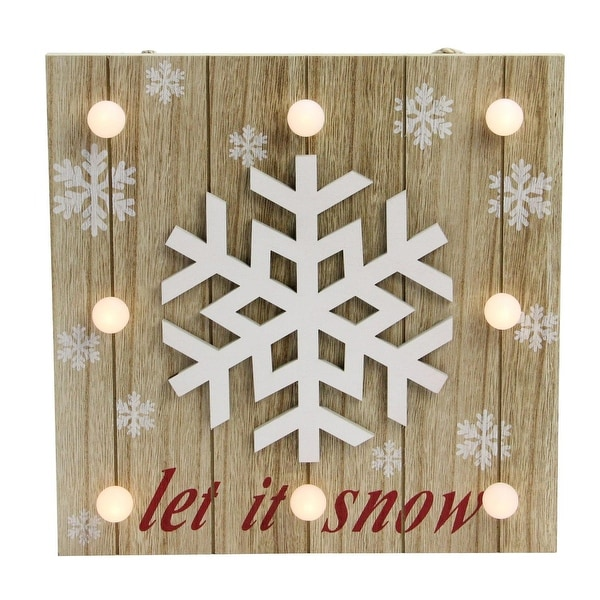 "10.25"" ""Let It Snow"" Natural Finished Wood and Snowflake Battery Operated Wall Decor - WHITE"