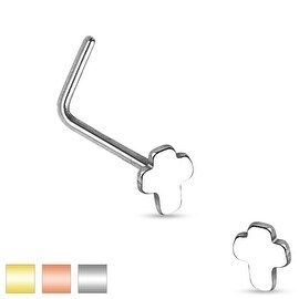 Cross Top 316L Surgical Steel L Bend Nose Ring (Sold Individually) (3 options available)