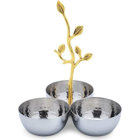 Cheer Collection Shiny Polished Stainless Steel Three Sectional Serving Bowl with Gold Leaf Handle