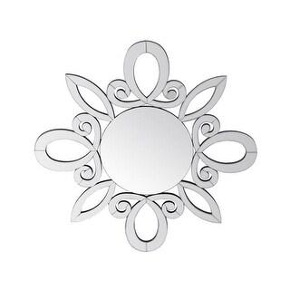 Privilege 32 x 1 x 32 in. Wooden Accent Beveled Mirror - Starburst