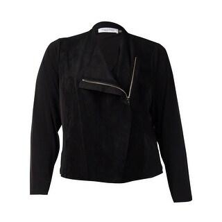 Calvin Klein Women's Front Faux Suede Jersey Jacket (Black, 1X) - Black