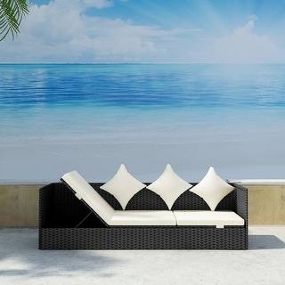 vidaXL Outdoor Sofa with Cushion & Pillow Poly Rattan Black - 78.7'' x 23.6'' x 22.8''