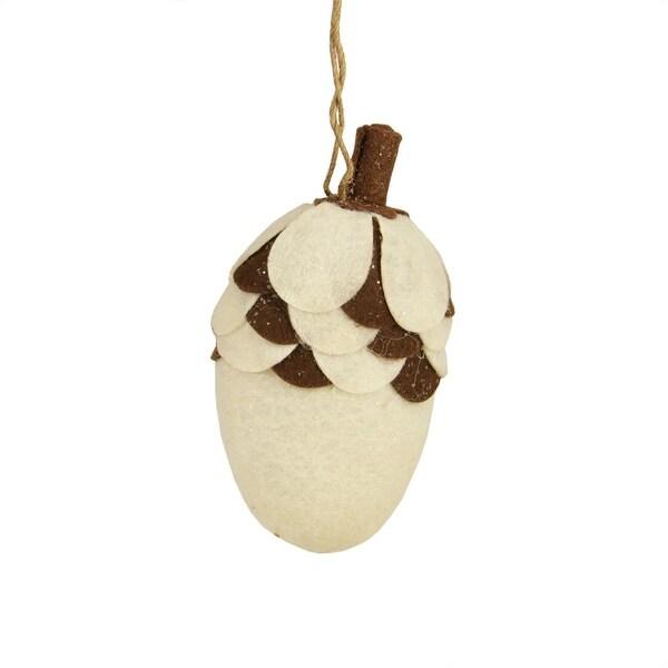 "4.75"" Brown and White Plush Glittered Acorn Christmas Ornament"