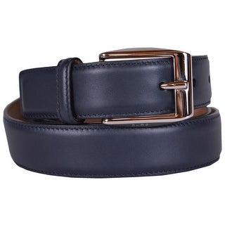 Gucci Men's Smooth 336831 Navy Blue Leather Logo Buckle Belt