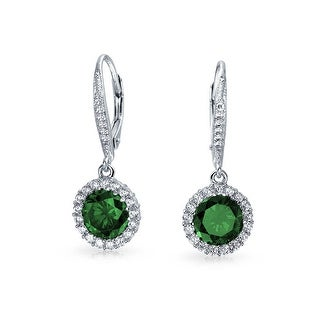 Bling Jewelry Green CZ Flower Crown Leverback Dangle Earrings 925 Sterling Silver
