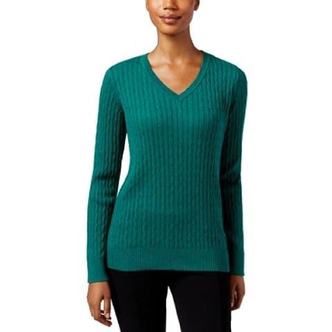 Karen Scott Women's Cotton V-Neck Sweater Green Size Extra Large