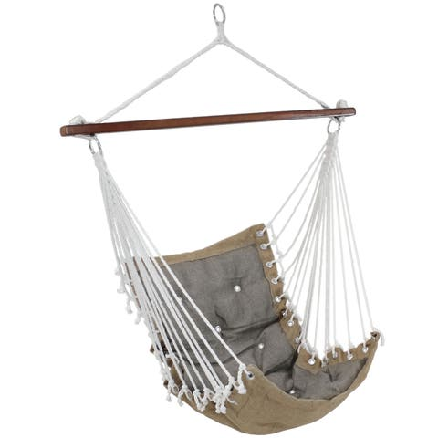 Sunnydaze Tufted Victorian Hanging Hammock Swing - 300-Pound Limit - Gray