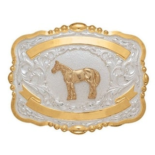 Crumrine Western Belt Buckle Kids Child Show Horse Gold White