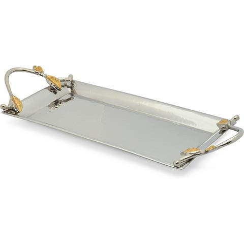 Cheer Collection Two Tone Silver Rectangle Tray with Gold Leaf Accents