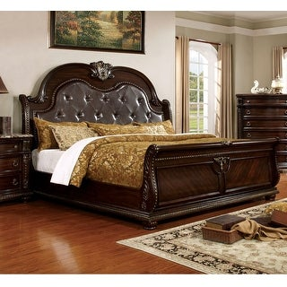 Link to Furniture of America Dame Traditional Cherry Faux Leather Sleigh Bed Similar Items in Bedroom Furniture