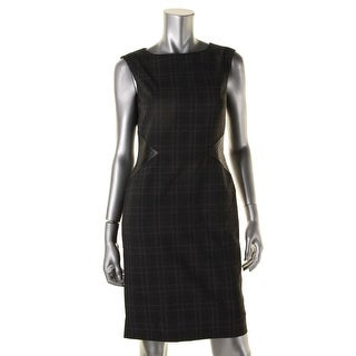 Tahari ASL Womens Kyle Plaid Faux Leather Trim Wear to Work Dress