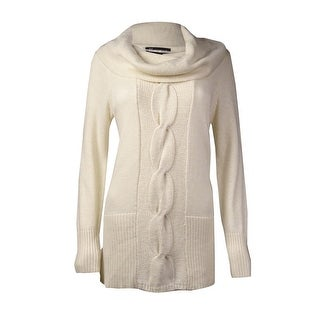 INC International Concepts Women's Cowl Neck Cable Knit Sweater (M, Buttercream) - m