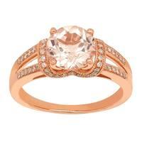1 7/8 ct Natural Morganite & 1/5 ct Diamond Ring in 14K Rose Gold