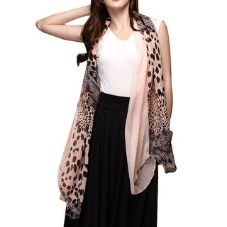 Unique Bargains Ladies Colour Block Soft Scarf Shawl Decoration Light Pink