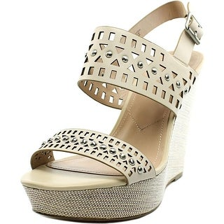 Charles By Charles David Aloof Women Open Toe Leather Ivory Wedge Sandal