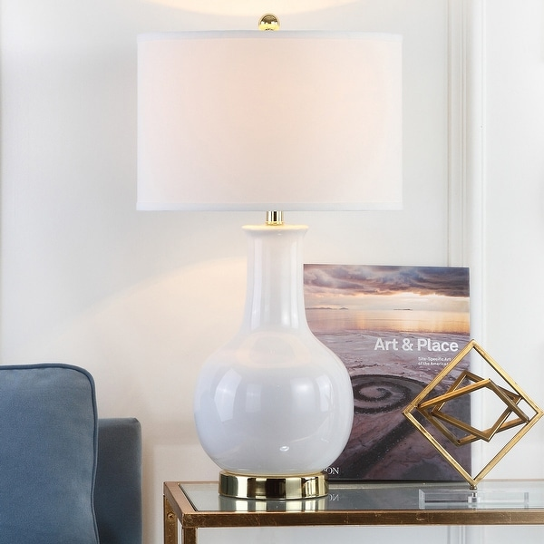 """Safavieh Lighting 27-inch Louvre White Table Lamp - 15""""x15""""x27.5"""". Opens flyout."""