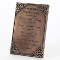 """5.75"""" Antique Bronze Colored Decorative Celtic Table Top Plaque with Irish Blessing"""