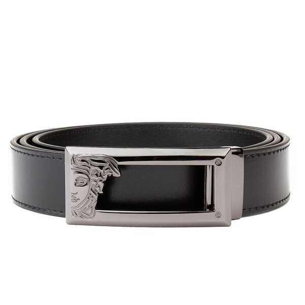 Versace Collection Men's Medusa Logo Stainless Steel Buckle Leather Belt Black