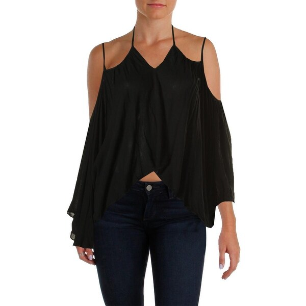 Cotton Candy Womens Peasant Top Open Shoulder Cropped