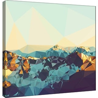 """PTM Images 9-101208  PTM Canvas Collection 12"""" x 12"""" - """"Fractal Mountain Sunset"""" Giclee Mountains Art Print on Canvas"""