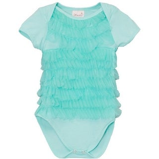 Wenchoice Baby Girls Green Chiffon Ruffles Short Sleeve Bodysuit