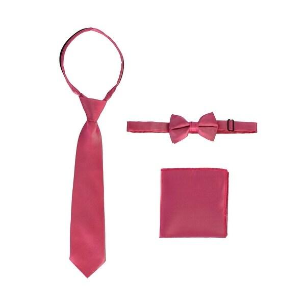 Gioberti Little Boys Fuchsia Solid Necktie Bow Tie Pocket Square 3 Pc Set 5-7
