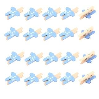 Card Photo Decoration Clothes Shape Crafts Mini Wooden Clip Pin Blue 20pcs