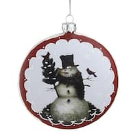 "5"" White and Burgundy Snowman with Cardinals Glittered Christmas Tree Ornament"