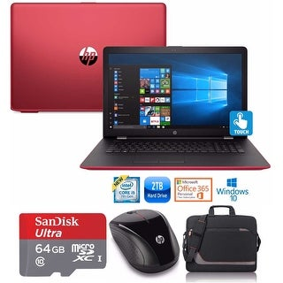 "HP 17-bs024 Core i5-7200 2TB HDD 17.3"" TouchScreen Laptop Bundle with Office 365 (Refurbished) - Red"