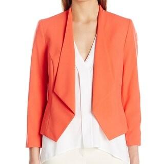 Nine West Tangerine Orange Womens 8 Open Front Kiss-Front Blazer
