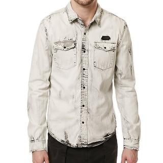 Buffalo David Bitton NEW White Chambray Mens Large L Button Down Shirt