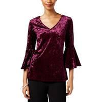 MSK Womens Blouse Velvet Bell Sleeve