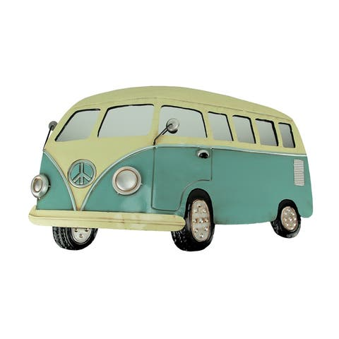 Vintage Blue and White Metal Retro Beach Van with Mirror Windows Wall Hanging - 19 X 31.5 X 1.25 inches
